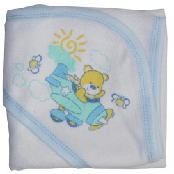 Hooded Towel With Blue Binding And Screen Prints